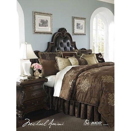 Michael Amini 13 Piece Higate Manor Comforter Set King Brown Beige Gold
