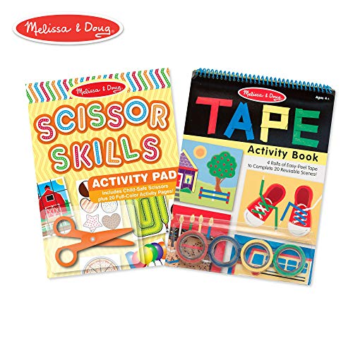 (Melissa & Doug Scissor Skills and Tape Activity Pad Set (Early Learning Skill-Builder, Plastic Safety Scissors, 4 Rolls of Tape, 20 Activity Pages Each) )