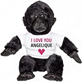 I love You Angelique Funny Valentine's Gift: Small Plush Gorilla