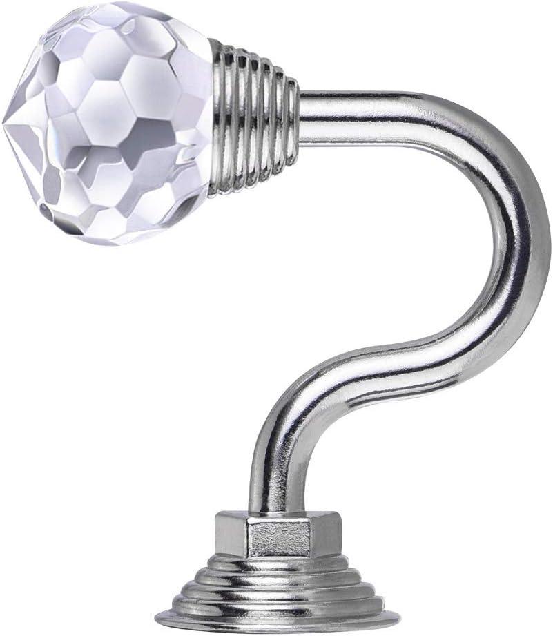 bdrsjdsb 1 Pair Aluminium Alloy Wall Mounted Crystal Hook Home Curtain Umbrellas Keys Cloths Cap Holder Golden