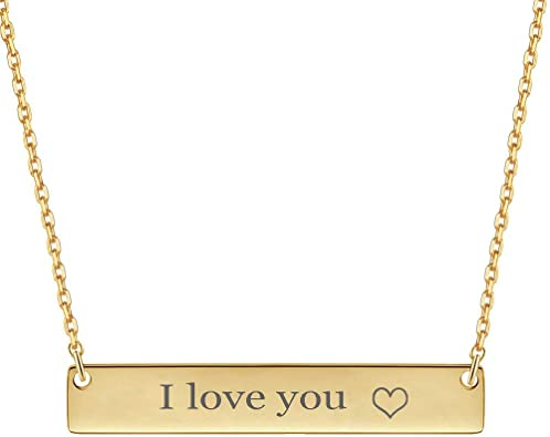 18K Gold Plated Custom Name Engravable Necklace with Adjustable Chain Charm Gift for Bridesmaid VNOX Personalized Bar Necklace