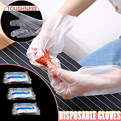 MARKWIND Plastic Gloves Disposable - 300 Pcs Plastic Hand Gloves for Kitchen Cooking Cleaning Safety Food Handling Service Gloves Large: Toys & Games