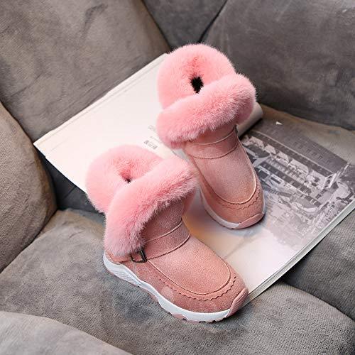Chaud Bottines Soirée Fluff Rose Plus Mariage Bottes Hiver Partie De Bouton Garçon Neige Mocassins Épaissir Sport Velours Qinmm Fille Chaussures RZqAx8