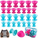 SIQUK 110 Pcs Silicone Hair Curlers Blue and Pink