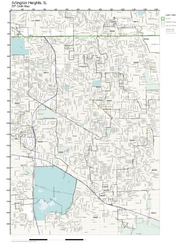 ZIP Code Wall Map of Arlington Heights, IL ZIP Code Map Not Laminated (City Of Arlington Heights Il)
