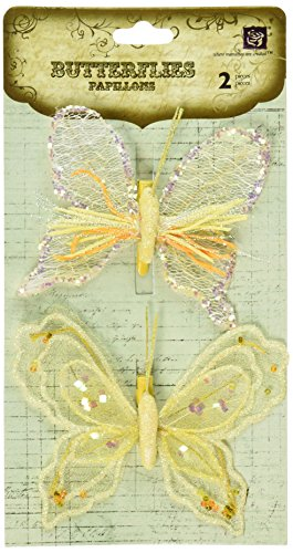 Prima 537043 Sheer Fabric Butterflies with Metal Clip, Yellow