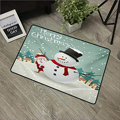 Christmas,Room Doormat Merry Christmas Cartoon with Santa Snowman Pines Houses Winter W 31