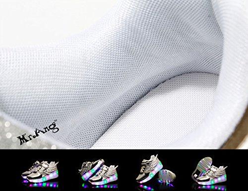 Mr.Ang zapatos de skate luces LED coloridos parpadeante neutra ruedas de patines de rueda patín zapatos Zapatos del patín zapatos deportivos niños y niñas de calzado deportivo Malla de zapatos calzado 03 Argent