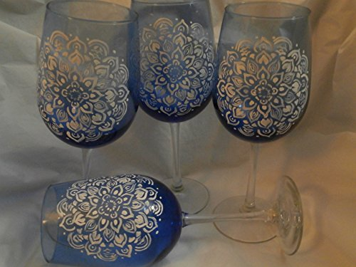 Special Order Stemware - Hand painted blue goblets in Mandala design in white. Set of 4. 20 ounces each.