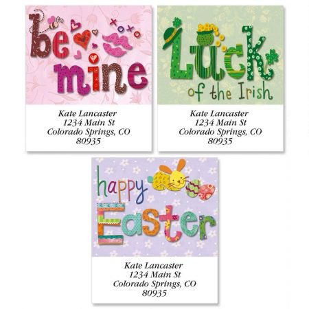 (Personalized Spring Holiday Square Valentine's Day Address Labels - Set of 144 Self-Adhesive, Flat-Sheet Easter labels)