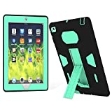 iPad 2 Case, iPad 3 Case, iPad 4 Case, Daker Kickstand Heavy Duty Rugged Shockproof High Impact Resistant Hybrid Three Layer Armor Defender Full Body Protect Case for iPad 2/3/4th Gen (Black Blue)