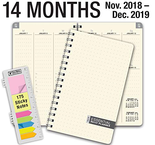 Essential 5x8 Monthly & Weekly 2019 Planner - 14 Months (November 2018 Through December 2019) - Professional, Simple, Easy-to-Use Design. Frosted Vinyl Covers for Extra Protection