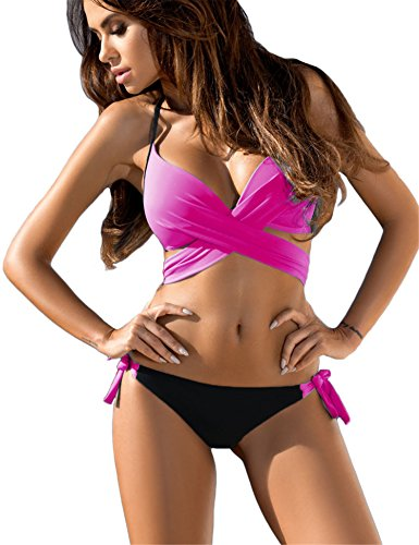 Dromild Women's Halter Wrap Bikini Set Two Piece Bandage Swimsuit Bathing Suit Swimwear Rose Red S - 2 Piece Wrap