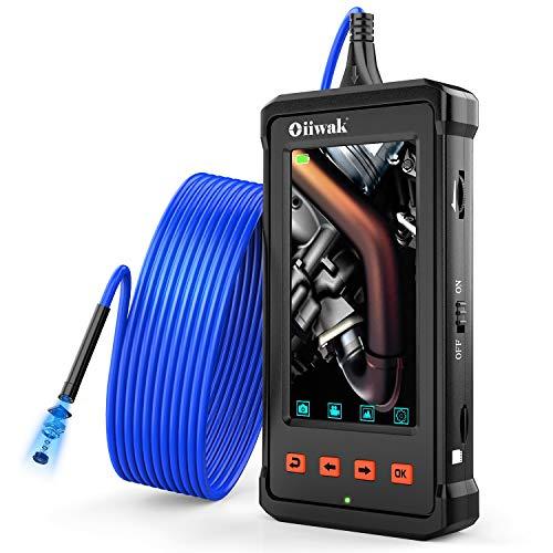 Oiiwak Industrial Endoscope 4.3inch LCD Screen with 5.5mm Borescope 1080P HD Micro Inspection Camera 2800mAh Battery Semi-Rigid Tube(3.5m/11.5ft)