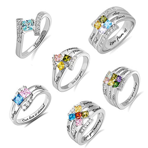 Sterling Silver Mothers Rings - Sterling Silver Princess-Cut Mothers Ring 1-6 Birthstones and Names & 1 Inside Message Promise Rings for Couple, Engagement Rings for Women