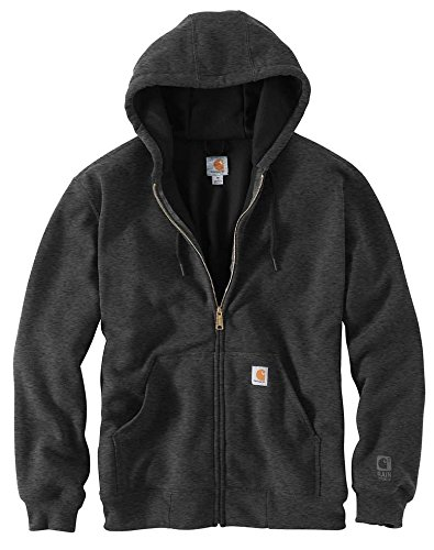 Carhartt Men's RD Rutland Thermal Lined Hooded Zip Front Sweatshirt, Carbon Heather - New Large