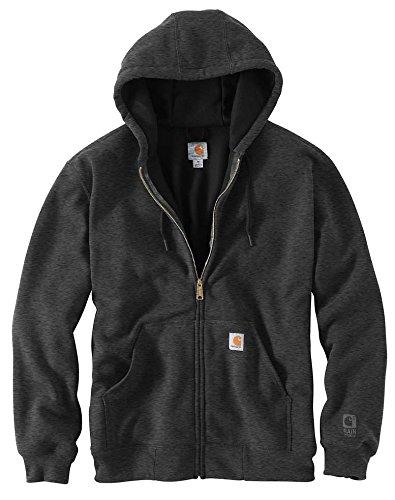 Carhartt Men's RD Rutland Thermal Lined Hooded Zip Front Sweatshirt, Carbon Heather-New, - Heather Front