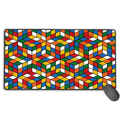 LNUO-2 Extended Large Gaming Mouse Pad/Mat, Rubix Cube Pattern Custom Mouse Pads with Non-Slip Rubber Base for Computers, Durable Stitched Edges ()