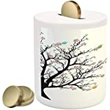 Lunarable Butterfly Piggy Bank by, Blossom Trees in Spring Time Flourishing Open Up Season Leaf Growth Change Image, Printed Ceramic Coin Bank Money Box for Cash Saving, Multicolor