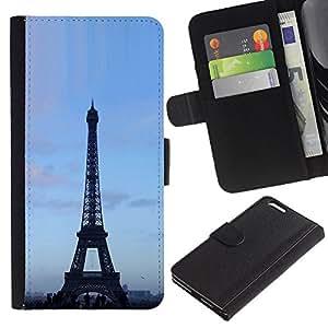 Planetar® Modelo colorido cuero carpeta tirón caso cubierta piel Holster Funda protección Para Apple (5.5 inches!!!) iPhone 6+ Plus ( Architecture Eiffel Tower Blue Sky )