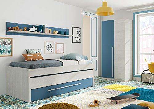 Pack habitacion Juvenil con Cama Nido Estante de Pared, Armario y SOMIERES INCLUIDOS Color Blanco y Azul