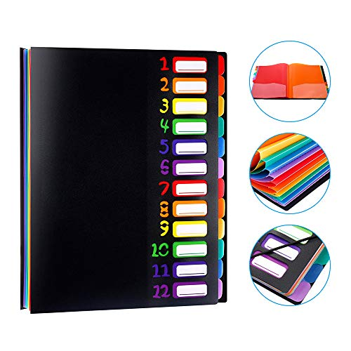 LOBKIN Expanding File Organizer 12 Pockets, Accordion Folders Letter Size Hold 120 Sheets, Assorted with Rainbow, Multi Pocket Rainbow File Folders Letter Size Designed for Home, Office and School
