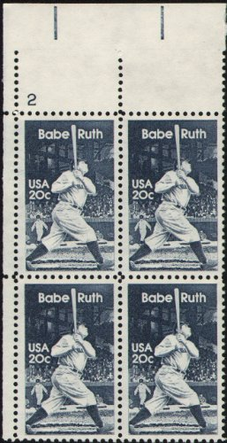 (1983 BABE RUTH - THE BAMBINO - SULTAN OF SWAT #2046 Plate Block of 4 x 20 cents US Postage Stamps)