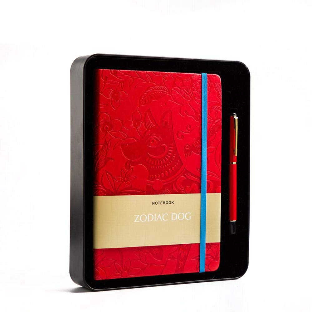 Sinngukaba Chinese Red Banding Notepad A5 Notebook with Pen for a Lucky Gift, Zodiac - Dog (Color : Red)