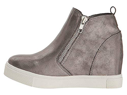 3189b54d19 Womens Platform Wedge Booties Slip on High Top Sneakers Heeled Zip Up Pump Ankle  Boots