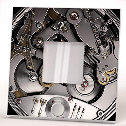 Steampunk Bicycle Paris Guitar Clock Mechanism Wall Framed Mirror Print Design Art Fan Decor Gift