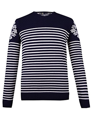 VENTELAN Men's Quality Favorable Casual New Style Long Sleeve Stripe Knit Shirts