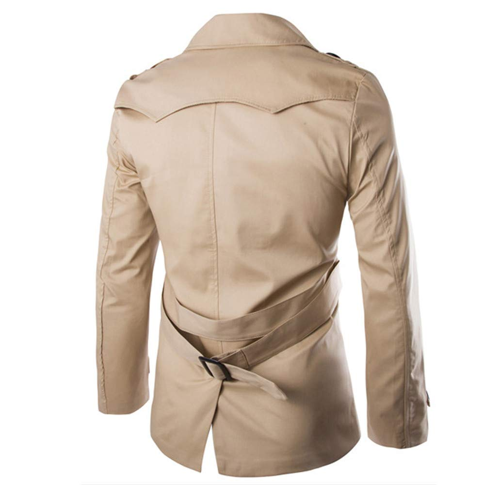 Autumn Winter Solid Color Double-Row Button Long-Sleeved Trench Warm Outwear Tops OSTELY Mens Coat