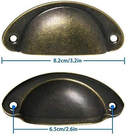 LESOLEIL 20 St/ück Vintage Muschelgriffe fur Schublade Antik Eisen Griffe fur K/üche Mobel M/öbelkn/öpfe Gold