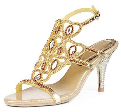 Tacón de Dorado de Sandalias Mujer Alto YooPrettyz Sweetheart Diseño para qFwEE0C