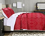 Greenland Home Holly Quilt Set with Cross Stitching, Red (3 Piece), King