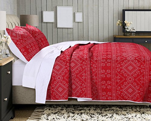 Adventure Twin Quilt (Greenland Home Holly Quilt Set with Cross Stitching, Red (2 Piece), Twin)