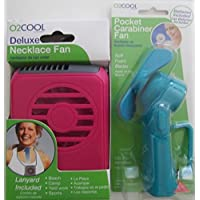 O2 Cool Fan, Deluxe Necklace Fan and Pocket Carabiner Fan with batteries