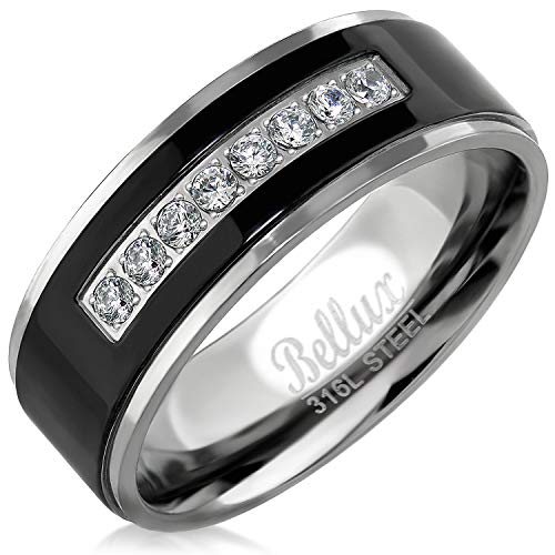Bellux Style Stainless Steel Mens Wedding Bands Promise Rings for Him Silver Black Comfort-Fit Engagement Jewelry (Size 12)