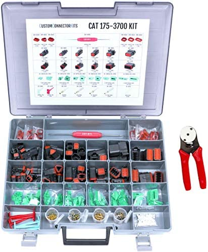 CAT-175-3700 Field Service Kit with 20-14 AWG 4-Way Indent Crimp Tool: Environmentally Sealed Connectors for Caterpillar and Tractor Electrical Repair