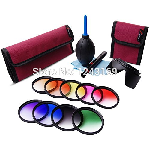 UltiSmart(TM) 58mm Graduated Color Filter Kit Orange Blue Grey Red Green Purple Pink Yellow Brown For DSLR Camera LF498