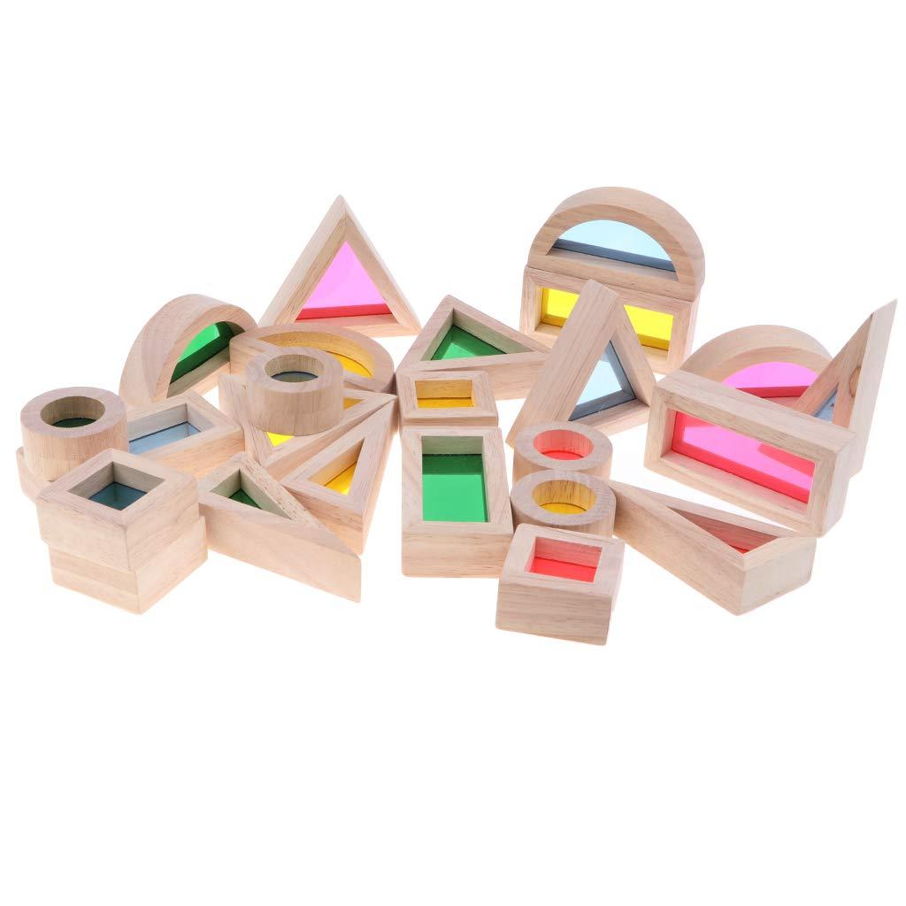 Homyl 24pcs Jouet en Bois Jeu de Blocs Arc-en-Ciel Construction Jeux Educatif Montessori