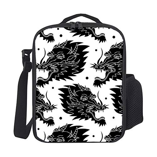 SARA NELL Insulated Dragon Traditional Tattoo Pattern Lunch Bag Tote with Detachable Adjustable Shoulder Thermal Waterproof Large Capacity Outdoor Picnic Lunch Box for Kids Teens Adults