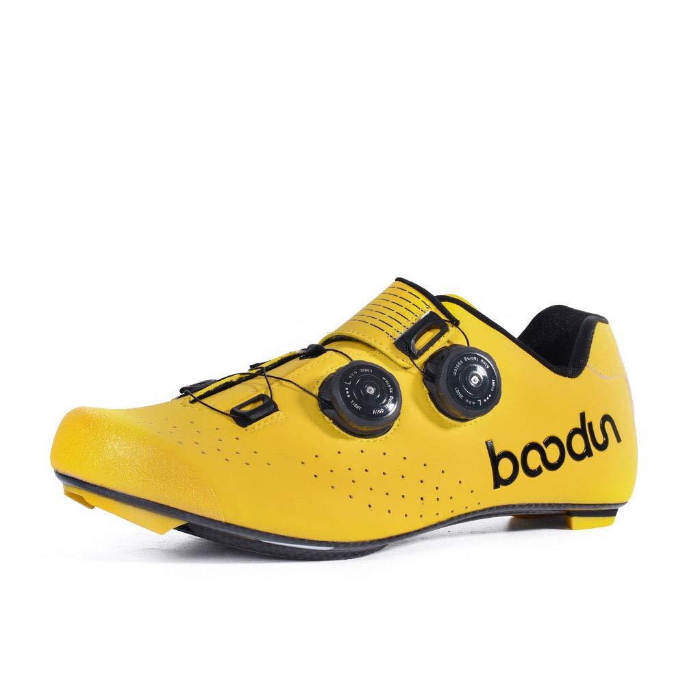 Jaune Froid 44 EU Chaussures d'équitationAiles lumière voiturebon Fiber Road Bicycle Riding chaussures Anti-SEnfant Wear-Resistant Professional Lock chaussures