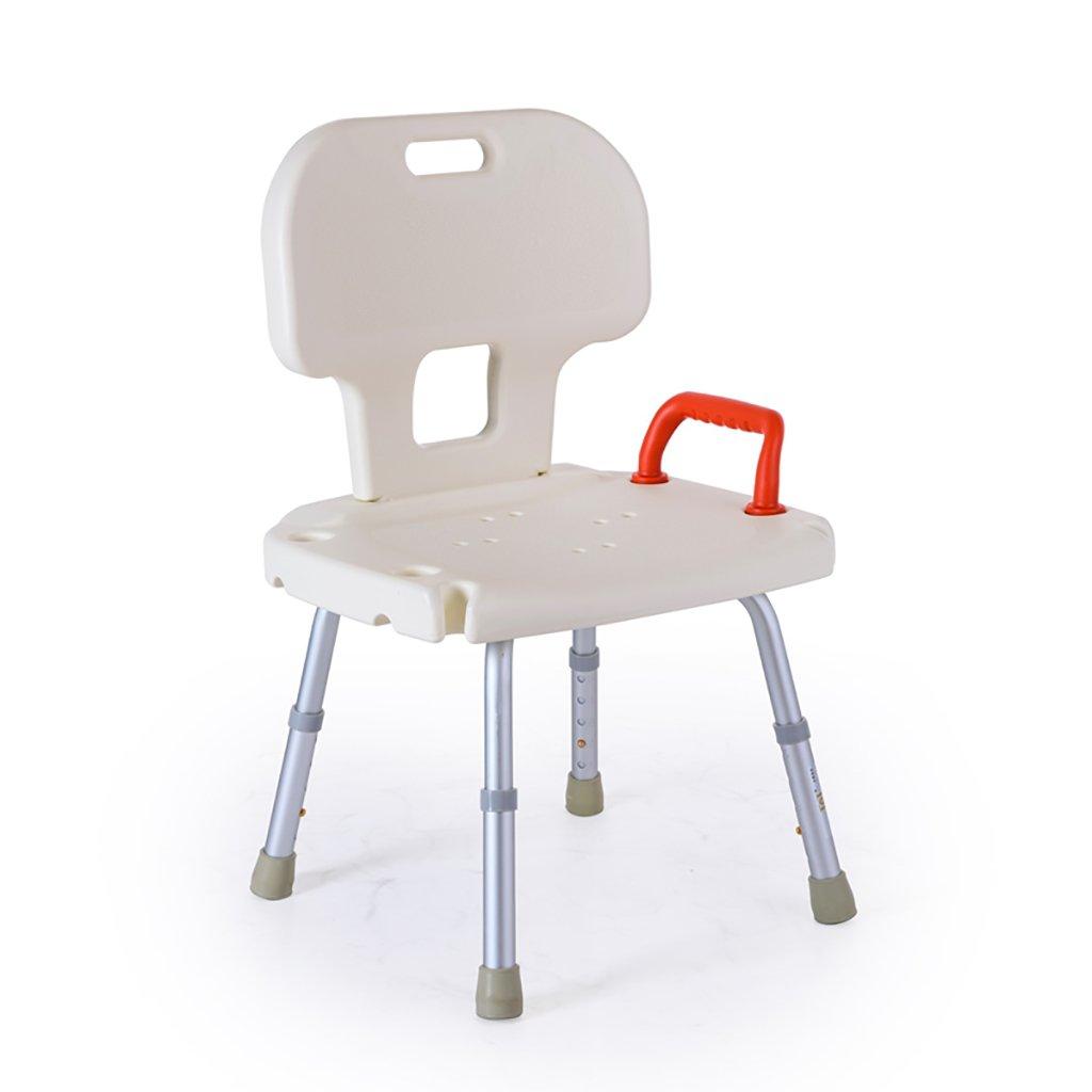 XUEPING バススツール シャワースツール 無効/高齢者/妊娠中の女性/バスシート 自由にスケーラブル ハイバック シングルハンドレールスツール ホワイト B07DGFQQMM