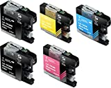 Sherman Ink Cartridges © 5 Pack Compatible Ink for MFC-J870DW, MFC-J450DW Replacement Ink Cartridge LC103 LC-103 2 Black, 1 Cyan, 1 Yellow, 1 Magenta Compatible with Printers MFCJ870DW, MFC-J450DW, MFC-J6920DW, MFC-J650DW, MFC-J4410DW