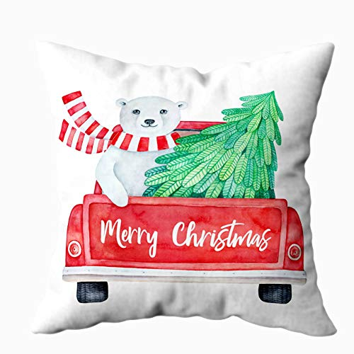 Musesh Outdoor Pillow Covers, Christmas of Red Vintage Truck Back View Holiday Greeting Message and Cute Smiling Bear Christmas Pillow Cases 20X20Inch Pillow Covers,Red Green (Technic Arctic Truck)