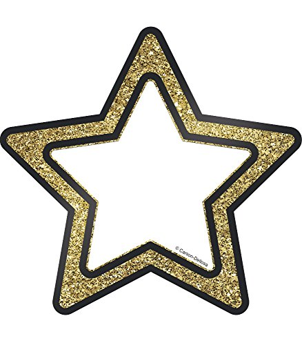 Carson Dellosa Decorative Sparkle and Shine Gold Glitter Stars Cut-Outs (120243)