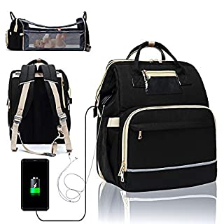 3 in 1 Travel Foldable Portable Baby Bed Waterproof Diaper Bag Mommy Backpack Changing Station with Sunshade, USB Charging Port and Headphone Port [2020 Premium Version](Black)