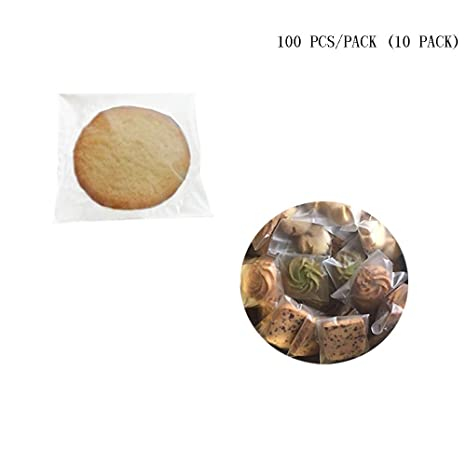 S Lautechco 1000pcs//lot Cute Cookie No Printing Packaging Self-Adhesive Gift Plastic Bags for Biscuits Snack Baking Cake Package