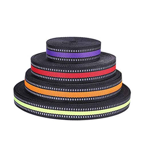 Donhouse 15mm 20mm 25mm Width Reflective Nylon Webbing,Reflective Fabric Tape Strip Edging Braid Trim Highlight Reflective Webbing Ribbon by 100m Length